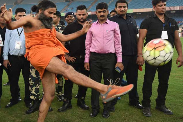 When yoga guru Ramdev Baba turned into a footballer