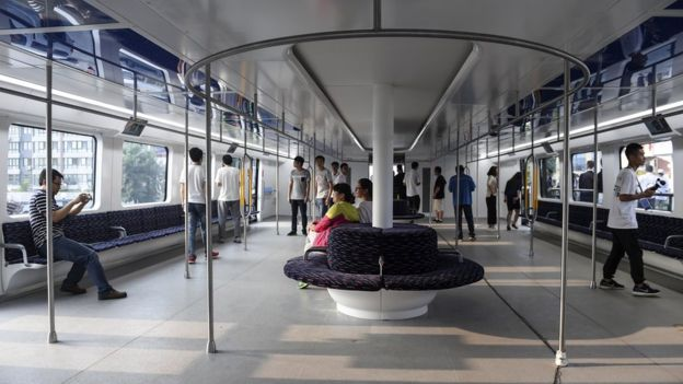 The vehicle is expected to reach speeds of up to 60km per hour, running on rails laid along ordinary roads. Up to four TEBs can be linked together. (Image: AP)