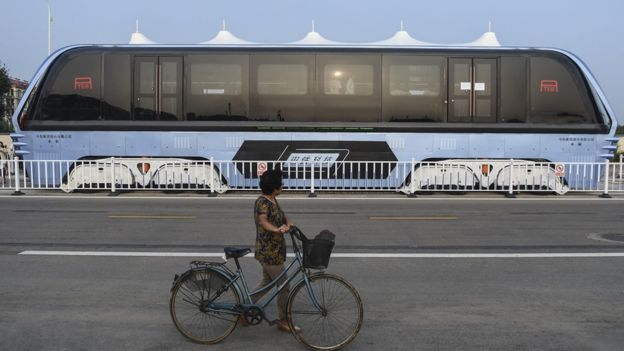 It is not a new idea, but it was not seriously considered until a mini-model of it was launched at the 19th China Beijing International High-Tech Expo in May. A month later, developers announced that the TEB would be ready for a test-run in August. (Image: AP)