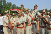 UP police recruits celebrate after passing out parade in Moradabad