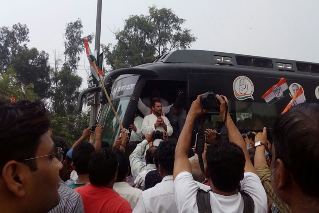 Congress Vice President Rahul Gandhi addressed supporters during his road show on the last day of his month-long Kisan Yatra from Deoria in poll-bound Uttar Pradesh to Delhi on Thursday.